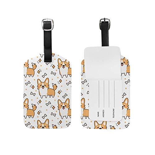 Süße walisische Corgi Hund Gepäckanhänger PU Leder Tasche Reise Koffer Gepäck Label 2 Stück Set -