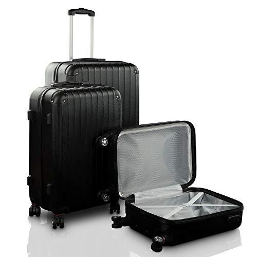 Lot de 3 valises de Voyage Trolley Noir, Sacoche légère, 4 Roues, ABS Semi-détachable, Serrure, Fermeture à Sangle