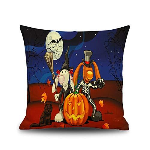 FASTCX Halloween Kürbisszene Thema Leinen Kissen Kreative Geschenk Office Home Kissen Kissenbezug 3 45x45cm ohne Kissen