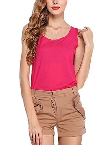Blusen Damen Rundhals Ärmellos Elegant Candy Colors Sommer Chiffon Leicht Shirt Tank Tops Rosa