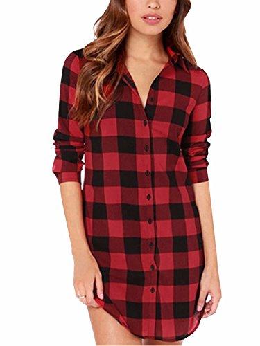 ZANZEA Camisa Cuadros Blusa Casual Elegante Oficina Algodón Botones Mangas Largas para Mujer Rojo Negro EU 48