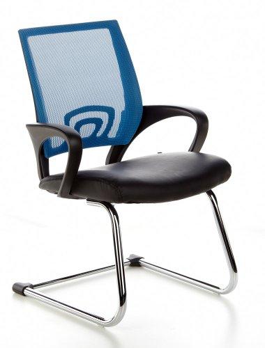 hjh OFFICE 650430 Konferenzstuhl Freischwinger VISTO NET V Netzstoff schwarz chrom blau, ergonomisch...