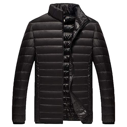 Xmiral Herren Jacke Mantel Winter Pure Color Faltbare Stehkragen Daunenjacke Overcoat (M,Schwarz)