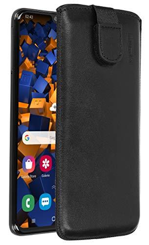 Galaxy-leder Etui (mumbi Echt-Ledertasche kompatibel mit Samsung Galaxy A40, Tasche Leder Etui schwarz inkl. Lasche mit Rückzugfunktion/Ausziehhilfe)