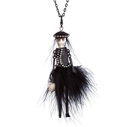 HAOJIUBUJIAN Neue Partei Halloween Schädel Kopf Halskette Schwarz Rot Feder Kleid Design Puppe Anhänger Lange Kette Halskette Modeschmuck (Halloween Feder Baum)