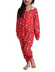 besbomig Einteiliges Weihnachtspyjama Weihnachten Gedruckt Kapuzen Home Kleidung Overall Pyjamas Matching für Damen, Herren, Mädchen und Jungen