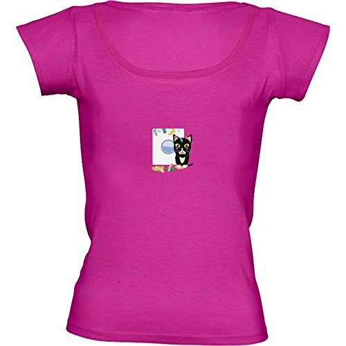 camiseta-rosa-fuschia-con-cuello-redondo-para-mujeres-tamano-m-gato-con-lavadora-by-ilovecotton