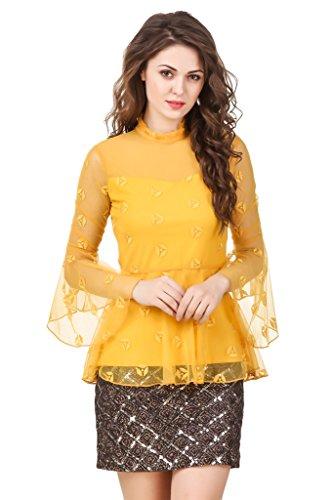 TEXCO Women's Cotton Tops (Yellow, Large)