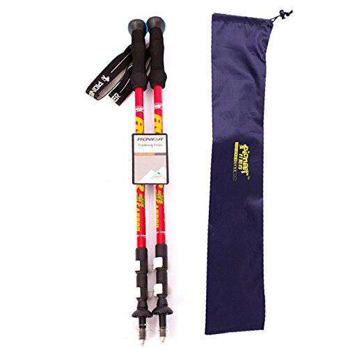 FDHLTR Ultraleichter Carbon-Lock-Bergsteiger-Skistock Trekkingstock- (Color : Red)