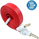 Captcha Flat Aux Stereo 3.5mm Music Transfer Cable For Mobiles And Speakers (Color May Vary) For All Android & Iphone Smartphones (One Year Warranty, Assorted Colour)