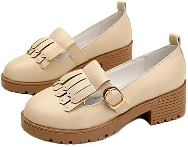 Las mujeres 039 s sandalias verano PU Confort confort informal beige blanco 2A-2 3 4inBeigeUS6 UE36 UK4 CN36