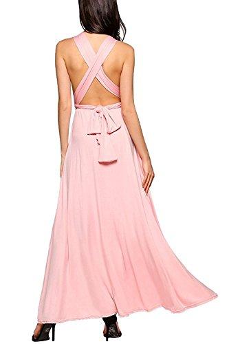 Choies Damen Kleid Multiway-Kleid Brautjungfer Abendkleid Maxikleid Elegant Sommerkleid Wrap Lang Cocktailkleid Partykleid Rosa