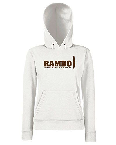 T-Shirtshock - Sweats a capuche Femme TM0474 rambo Blanc