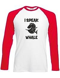 Brand88 - I Speak Whale, Long Sleeve Baseball Tee