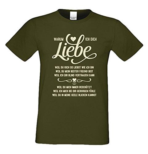 Als Liebesbeweis / T-Shirt Funshirt für Männer zum Valentin / Geburtstag / Vatertag Warum ich Dich liebe Farbe: khaki Khaki