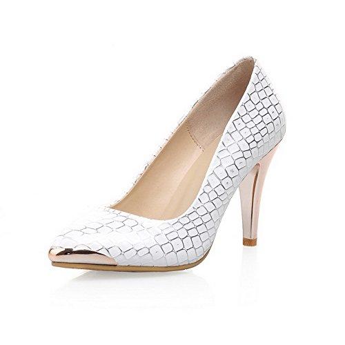 VogueZone009 Damen Gemischte Farbe Stiletto Ziehen Auf Spitz Zehe Pumps Schuhe Weiß