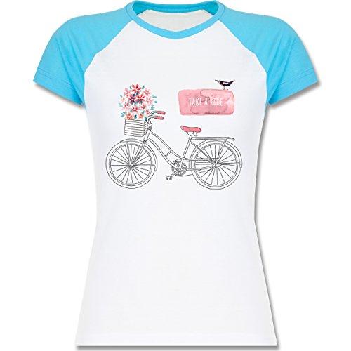 Shirtracer Vintage - Fahrrad Take a Ride Watercolour - Zweifarbiges Baseballshirt/Raglan T-Shirt für Damen Weiß/Türkis