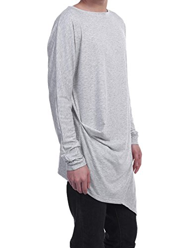 ZEARO Männer langes Hülsen-O Ansatz-festes loses gefaltetes Pullover-T-Shirt Grau