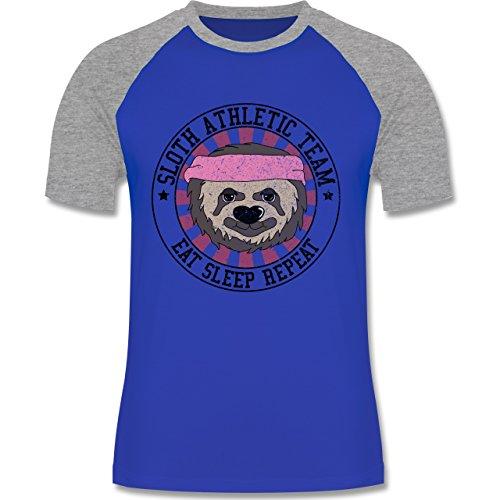 Shirtracer Statement Shirts - Sloth Athletic Team Faultier - Herren Baseball Shirt Royalblau/Grau meliert