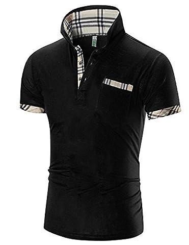 Boom Fashion Polo Homme Nouveau Manche Courte Casual T-shirt Mode Mince Fit Tops - Noir - Taille L