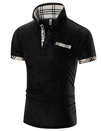 Boom Fashion Herren Poloshirt Kurzarm Slim-Fit kontrast Polohemd T-shirt Schwarz