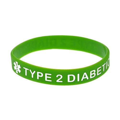 North King Silikon-Armbänder mit Sprüchen Typ-2-Diabetes Warnung Worte für Kinder und Erwachsene Einstellen der Stücke