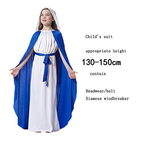 ween-Danksagung Ostern-Jahrestagung Erwachsener Kindgott Jesus Christus Jungfrau Maria, die Kostüm-Mädchen durchführt,130 * 150CM ()