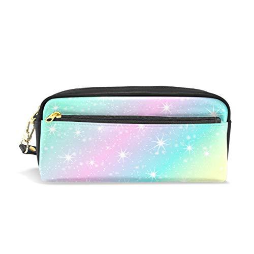 Federmäppchen, Regenbogen-Sterne, bedruckt, Reise-Make-up-Tasche, groß, wasserdicht, Leder, 2 Fächer, ideales Halloween-Geschenk für Kinder Mädchen ()