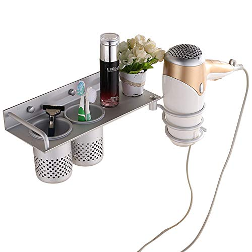 Space Aluminum Hair Trockner Rack Free Punching Bad Pendant Multi-Function Storage Rack,C (Reinigungsmittel Veranstalter)