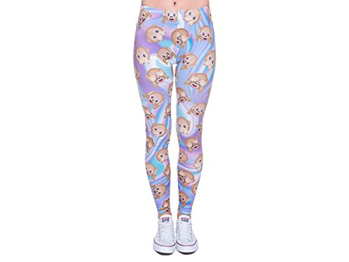 Leggings Damen Bedruckt Sexy Leggins Ladies mit Print Look Motiv Muster Stretch Legins Hose von Alsino, Variante wählen:LEG-070 Emoticon Affen
