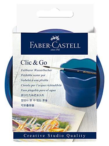 Faber-Castell 181540 Creative Studio Wasserbecher Clic & Go, blau Wasser Becher
