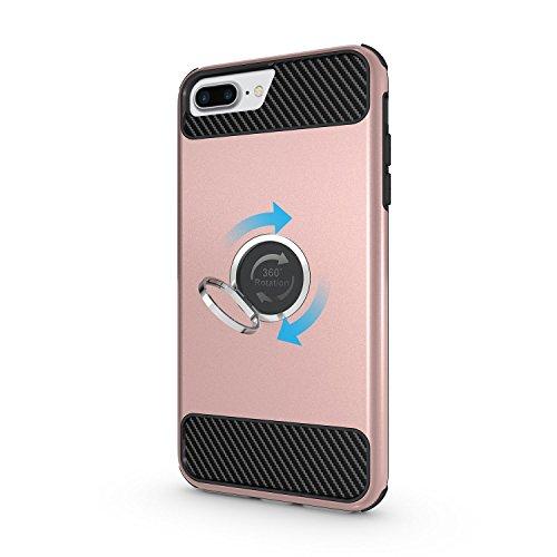"""Coque iPhone 6S Plus, MSK® Coque iPhone 6 Plus Protection Case [Tough Armor] [360 Degrés Rotating Métal Ring] Housse Etui Coque Pour Apple iPhone 6 Plus/6S Plus (5.5"""") Smartphone Protection - Noir Or Rose"""