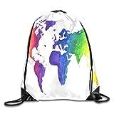 Ccsoixu Drawstring Backpack Gym Bag Travel Backpack Watercolor World Map Print Earth in Rainbow Colors Hand Small Drawstring Backpacks Women Men Adults