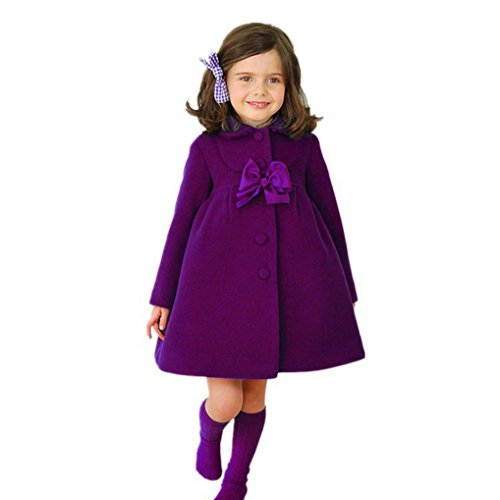 For 2-6 Years Old Kids Coat ,Wanshop® Toddler Kids Baby Girls Autumn Winter Cloak Jacket Overcoat Thick Warm Clothes (2T, Purple)