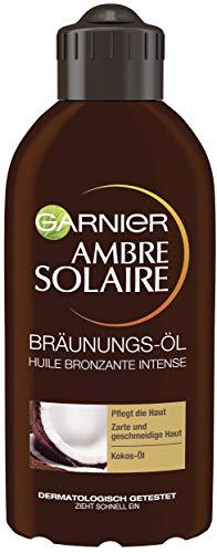 Garnier Ambre Solaire Tiefbraun Bräunungs-Öl, Selbstbräuner mit Kokosöl, Bräunungsbeschleuniger, Sonnenöl in Gold, 200 ml -