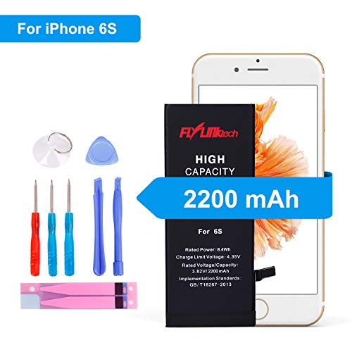 Price comparison product image FLYLINKTECH Battery for iPhone 6s 3.82v 2200mAh High Capacity Li-ion Polymer fit iphone 6s Mobile Phone Battery with All Repair Replacement Kit Tools Adhesive Strips (not 6 / 6P / 6SP) (iPhone 6s battery)