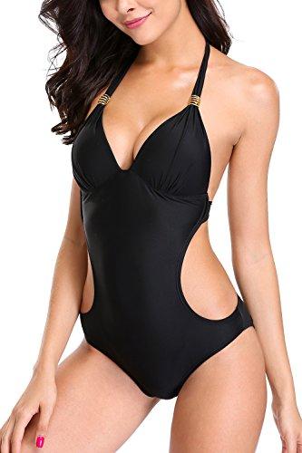 CharmLeaks Damen Einteiler Neckholder Bademode Cut Out Triangl Monokini Schwarz XL (Badeanzug Einteiler Damen)