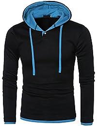 ITISME Herren Pullover Mode Herren Rundhals Langarm Casual Hood T-Shirt Tops T-ShirtsMerino Wolle Air Ohne Kapuze Orange Oversize Pink Polokragen Quad Rot Regular Fit