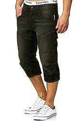 Indicode Herren Fortune 3/4 Jeans Shorts mit 5 Taschen aus 98% Baumwolle | Kurze Denim Stretch Sommer Hose Used Look Washed Regular Fit Men Short Pants Freizeithose für Männer in Schwarz Large
