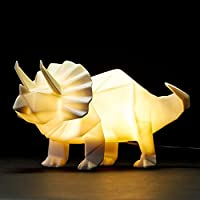 Dinosaur Lamp White Origami Triceratops Night Light by Disaster Designs