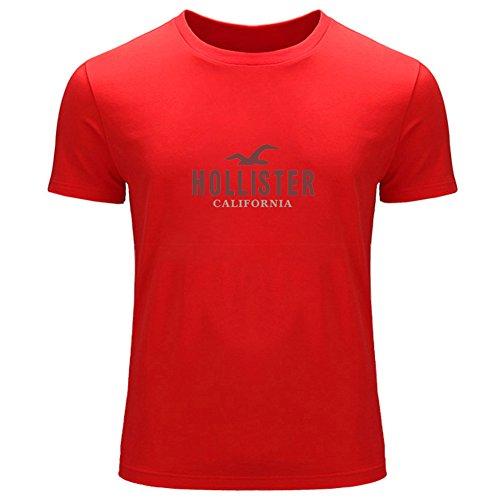 DIY Hollister - Camiseta de manga corta estampada para hombre Rojo rosso XX-Large