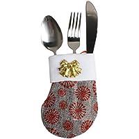 Lenfesh Vaisselle de Noël Sock Décoration Couverture Candy sacs Xmas Fourchette Vaisselle Sac (Gris)