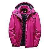 Damen Outdoorjacke Einfarbig Gefüttert Warm Taktische Soft Shell Jacke Atmungsaktiv mit Kapuze Tasche Wasserdicht Regenparka Für Camping Wandern Golf von Innerternet