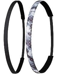 ivybands® Noir | le antidérapantes Bandeau cheveux | Lot de 2| Black Skull Pack SuperThin Tête de Mort noir/gris/blanc/motif étoiles–Taille Unique–ivy003ivy821