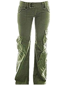 Hellomiko Pantalones Cargo Mujer - Multifunciones Pantalones Combat Cargo Pantalones Acampanados Cómodos Pantalones...