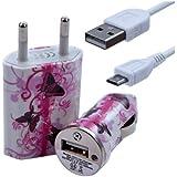 Seluxion - Chargeur maison + allume cigare USB + câble data CV09 pour Huawei : Ascend D /Quad XL/Ascend G300/ Ascend G330 U8825/ Ascend G510 U8951/ Ascend G525Ascend G600/ Ascend G615 / Honor 2/ Ascend G700/ Ascend G740/ Ascend G7500/ Ascend Mate/ Ascend P1/ Ascend P2/ Ascend P6/ Ascend W1/ Ascend Y100/ Ascend Y201/ Ascend Y201 Pro/ Ascend Y300/ Blaze U8510G6150 / Honor