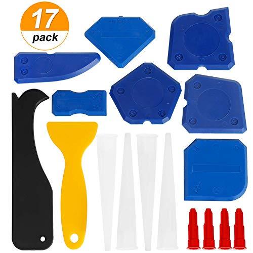 Lisseur Joints, 17 en 1 INTVN Silicone et Outils de Calfeutrage pour Salle de Bain Cuisine et Joint Mastic Silicone Coulis Remover