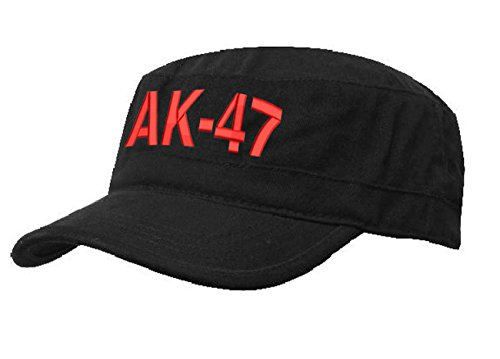 AK 47 MILITÄRMÜTZE Vintage Military Mütze Cap Fancy Dress Kappe biker Cadet Hat Flat (AK 47 Black red) (Chicago Bulls Dress)