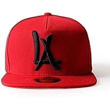 leeya N10Punk Hip-hop gorro flat-brimmed–Gorra de béisbol unisex, rojo