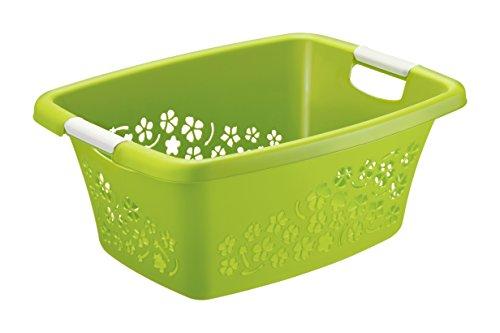 Rotho Wäschekorb Flowers Kunststoff/Plastik (PP) in grün/Weiss | Gr. M, Inhalt ca. 25 Liter - Diverse Größen auswählbar (LxBxH) ca. 50.5x38x22 cm Moderner Wäschesammler 1756590000